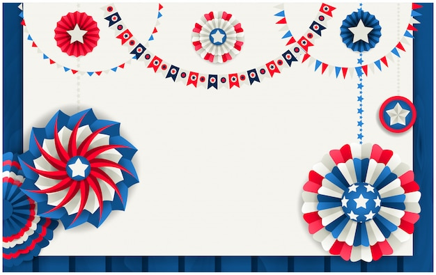 Patriotic background with paper pinwheels and festoons