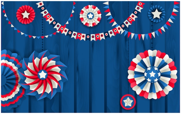 Patriotic background with paper pinwheels hanging on wooden fence