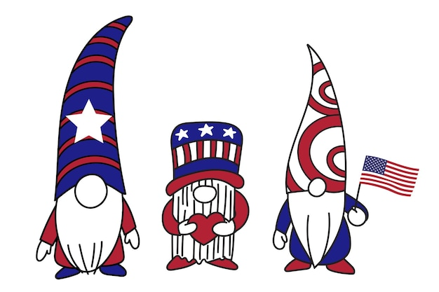 Patriotic gnomes 4th of july gnomes, happy independence day, vector illustration
