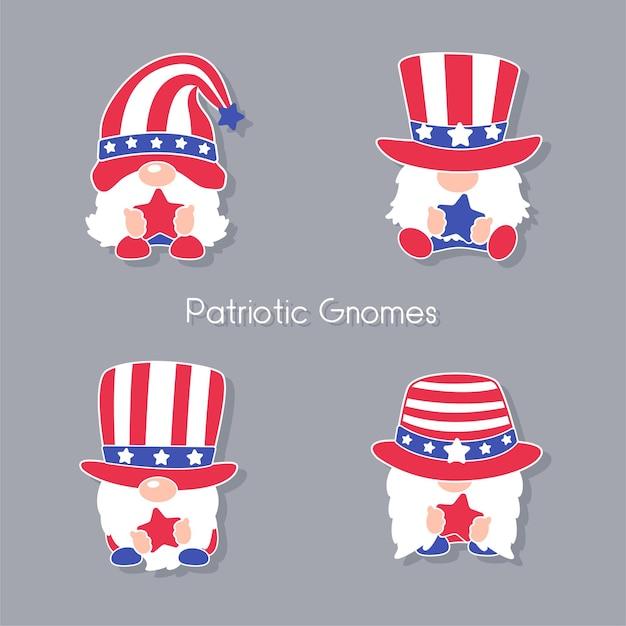 미국 국기의 빨간색과 파란색 별이 장식 된 모자를 쓰고있는 애국적인 격언.