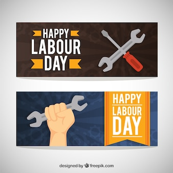 Patriotic labor day banners