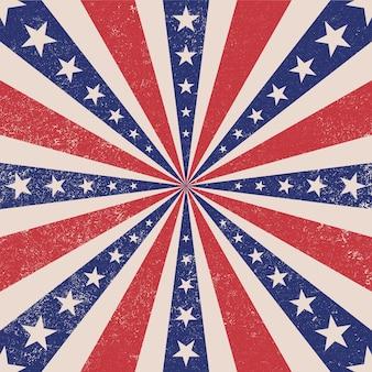 星の背景を持つ愛国的なレトロバースト