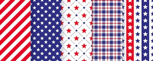 愛国的なシームレスパターン。 7月4日ハッピー独立テクスチャ。星、縞模様と格子縞の休日の幾何学的なプリントのセット。