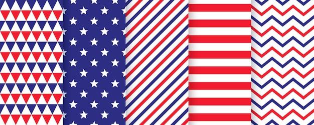 愛国的なシームレスパターン。 7月4日プリント。ベクター。幸せな独立記念日のテクスチャ。星条旗、ジグザグ、三角形の米国旗の幾何学的な背景のセットです。シンプルでモダンなイラスト。