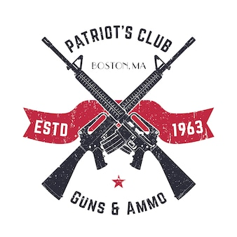 Patriots club vintage logo with crossed guns, gun shop vintage sign with assault rifles, gun store emblem on white