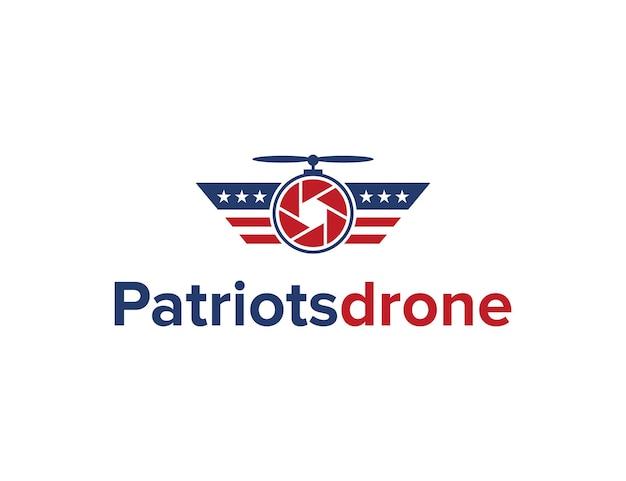 Patriots with camera drone simple sleek creative geometric modern logo design