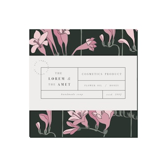 Patten for cosmetics label template design. freesia flowers.