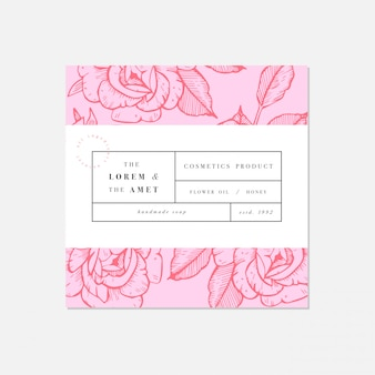 Patten for cosmetics with label template design. botanical collection. organic, natural cosmetic.