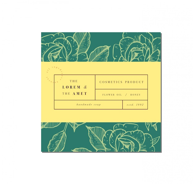 Patten for cosmetics with label template design. pattern or wrapping paper for package and beauty salons. botanical collection. organic, natural cosmetic.