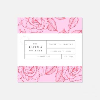 ラベルテンプレートデザインの化粧品のパッテン。植物コレクション。有機性、自然な化粧品。
