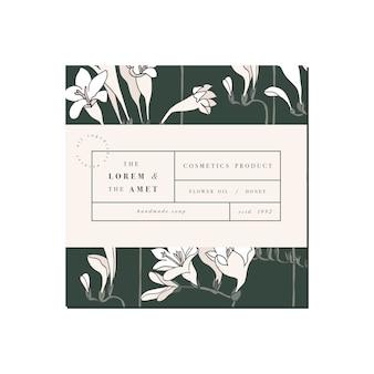 ラベルテンプレートデザインの化粧品用パッテン。フリージアの花。オーガニックでナチュラルな化粧品。