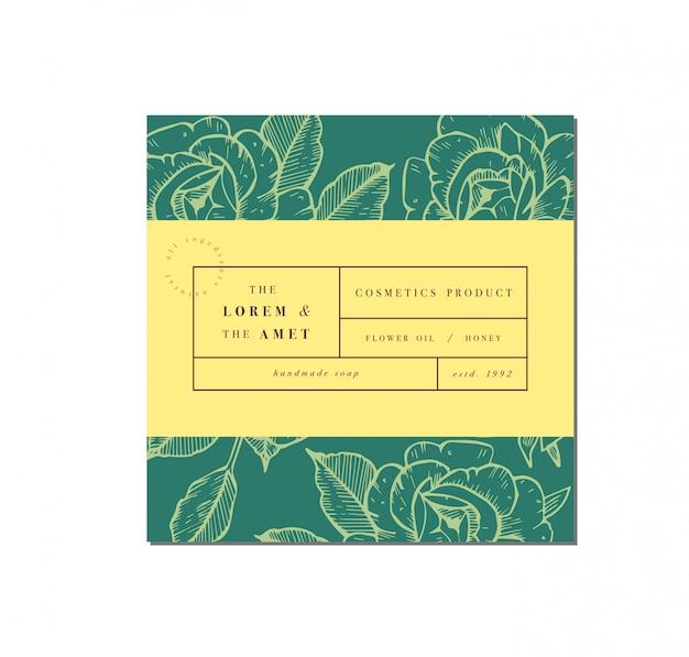라벨 템플릿 디자인으로 화장품 패튼. 패키지 및 미용 실용 패턴 또는 포장지. 식물 수집. 유기농, 천연 화장품.
