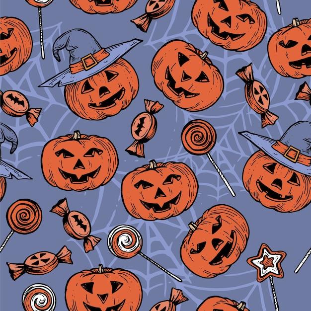 Паттен с тыквами на хэллоуин