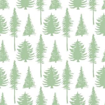 木のシルエットシームレスなpatten。ベクトル生態系の背景。