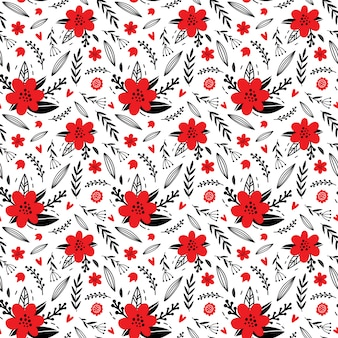 Pattern of abstract hand drawn flowers