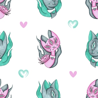Pattern of alien cats and hearts
