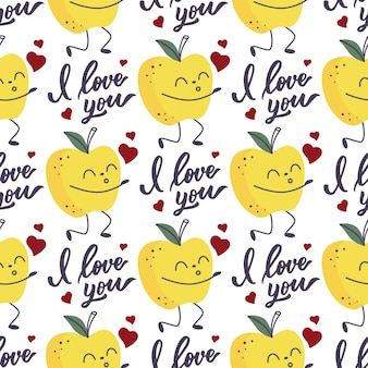 Pattern of the apple fruit blowing kisses and i love you lettering.