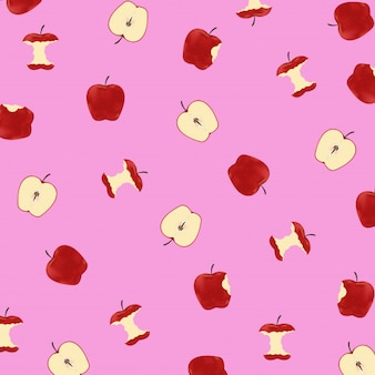 Pattern apples on pink background