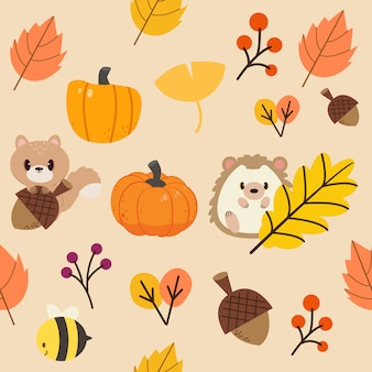 The pattern of autumn leaf and wildlife animal. the pattern of leaf orange and yellow tone.