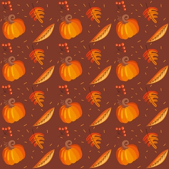 Pattern autumn leaves and pumpkin