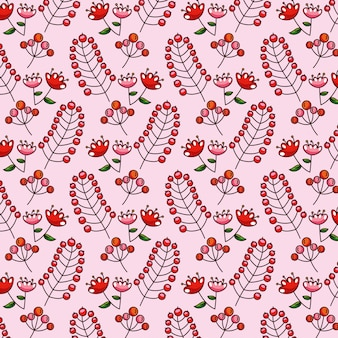 Pattern autumn leaves with flowers and red fruits