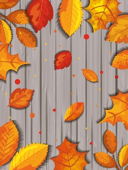 Pattern of autumn with leaves in wooden