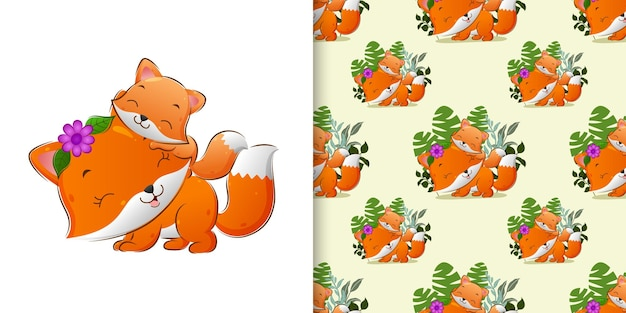 Pattern  of the baby fox playing with her mother with the happy face