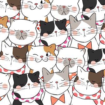 Pattern background design cute cats