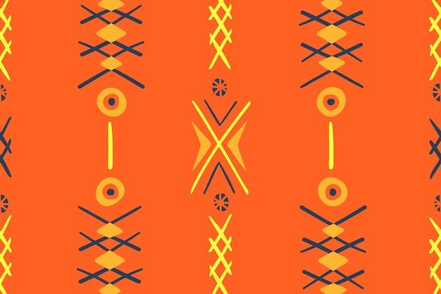 Узор фона, этнический бесшовный ацтекский дизайн, красочный геометрический стиль, вектор