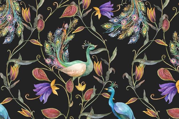 Motivo vettoriale di sfondo con pavone acquerello e illustrazione di fiori