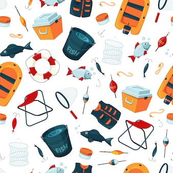 Pattern or background  with cartoon fishing equipment