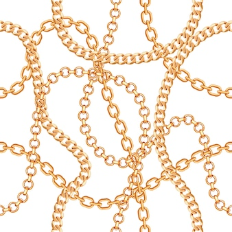 Pattern background with chains golden metallic necklace