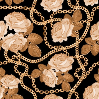 Pattern background with golden chains and beige roses