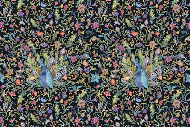수채화 공작과 꽃 일러스트와 함께 패턴 배경
