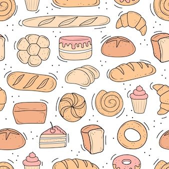A pattern of baked goods drawn in the style of doodle. black and white bread, cake, monchik, croissant. vector illustration on a white background.