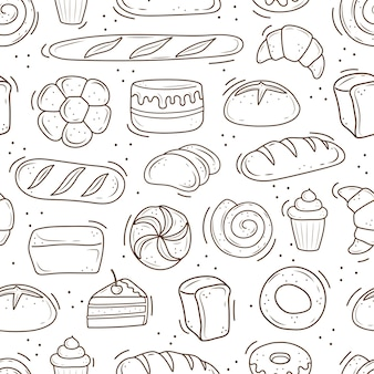 A pattern of baked goods drawn in the style of doodle black and white bread cake