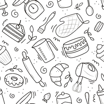 A pattern of baking and cooking tools, a mixer, a cake, a spoon, a cupcake, a scale. vector illustration in the doodle style. a sketch drawn by hand on a white background.