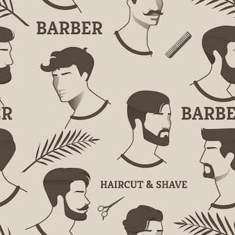 Pattern barber haircut & shave with scissors, comb. drawings young men, but with different haircuts and hairstyles, with and without beard, with mustache. shows different eras hairdressing.