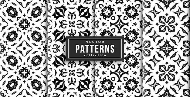 パターンバティックスタイルの黒と白の4色セット。シームレスな背景セット