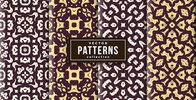 Шаблон в стиле батик коричневого цвета набор из четырех. бесшовный фон готов к печати