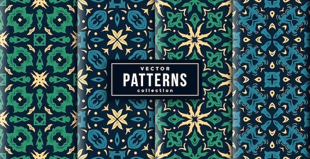 パターンバティックスタイルの緑と青の4色セット。シームレスな背景セット