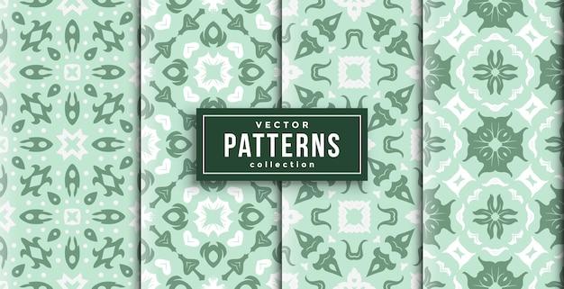 パターンバティックスタイルの緑と白の4色セット。シームレスな背景セット