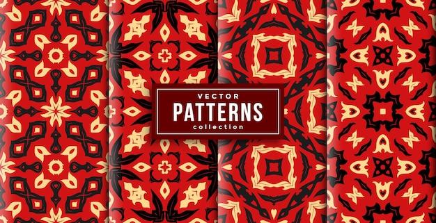 パターンバティックスタイルの赤い色の4つのセット。シームレスな背景を印刷する準備ができました