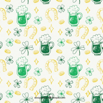 Pattern of beer sketches and st. patrick's day elements