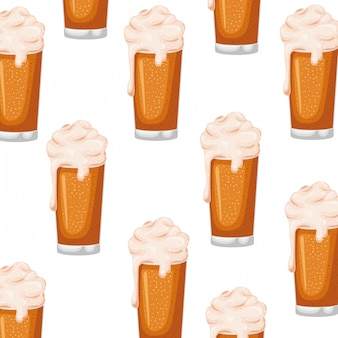 Pattern beer with foam isolated icon