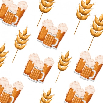 Pattern beer with foam and wheat icon