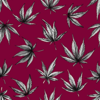 Pattern of black cannabis on a red background