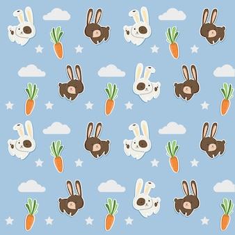 Pattern blue cute rabbit and carrots.