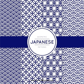 Pattern of blue geometric shapes in japanese style