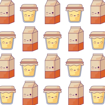 Pattern of boxes milk and honey pots kawaii style